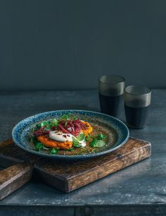 kumara, carrot & chickpea fritters with cumin spiced onion & garlic yoghurt