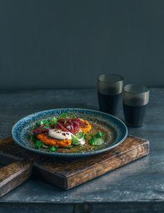 kumara, carrot & chickpea fritters with cumin spiced onion & garlic yoghurt