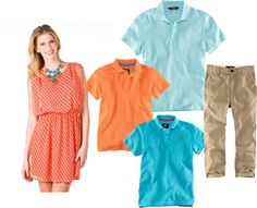 Color combination concepts for a spring family photo session: orange and blue