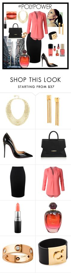 """Power Look -City"" by tropicalhaven ❤ liked on Polyvore featuring BCBGMAXAZRIA, Diane Von Furstenberg, Christian Louboutin, Givenchy, Alexander McQueen, LE3NO, Burberry, MAC Cosmetics, Christian Dior and Cartier"