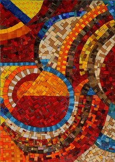 "Make Your Own Path, No. 2"", © Libby Hintz Mosaic Materials: smalti, Mexican smalti, vitreous glass tile,"