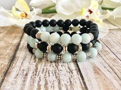 Amazonite Black Onyx Bracelet Stack, Yoga Bracelet Stack, Handcrafted Gift Ideas, Birthday Gifts, Healing Crystals by DesignsbyLolaBelle on Etsy
