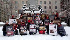 Fourth Silent Vigil in Montreal. Anti-Fur campaign