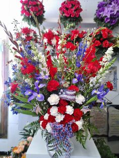 Flower Arrangements for Veterans Day | Memorial Day flowers by Wilma's Flowers , Jasper AL