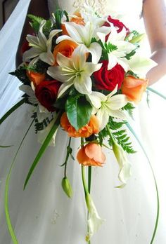 Cascading Bridal Bouquet Calla Lily Lilies And Roses Flowers Tropical Wedding Bouquets
