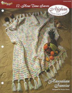 🌊 Afegão em Crochetar decorativos criações de havaianas nascer do sol Colecionadores -  /  🌊 Afghan Crochet in decorative creations Hawaiian sunrise Collectibles -