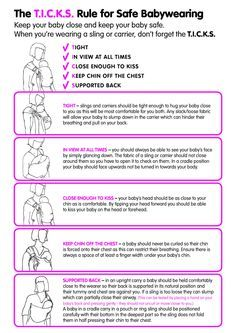 Safe Babywearing - learn the TICKS rule! Tight, In view at all times, Close enough to kiss, Keep chin off chest, Support back /Colleen at http://WrapsodyBaby.com