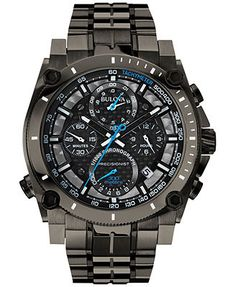 Bulova Men's Chronograph Precisionist Gray-Tone Stainless Steel Bracelet Watch 47mm 98B229
