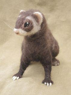 Needle felted ferret by Ainigmati on Etsy, $125.00
