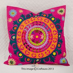 24 x 24 Pillow Cover Suzani Throw Pillow by CraftAuraHome on Etsy, $24.99
