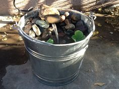 DIY Bucket Water Fountain Easy, easy, easy, and all for less than $30! A simple water pump, some river rocks, some water lettuce, and voila, you have a water fountain.#Pin By:Pinterest++ for iPad#