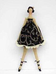Cloth doll ballerina princess fabric doll by HappyDollsByLesya