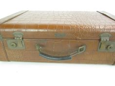 VINTAGE SUITCASE Leather Suitcase Crocodile by KarensChicNShabby