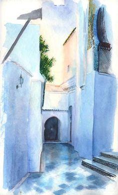Sidi Abu Median entrée au matin - Peinture,  40x50 cm ©2008 par Catherine Rossi -