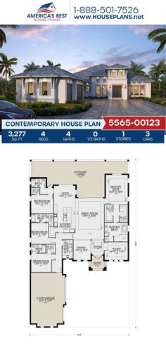 Introducing Plan 5565-00123, a Contemporary design that gives you 3,277 sq. ft., 4 bedrooms, 4 bathrooms, an outdoor living area, a breakfast nook, a study and the split bedroom layout. Learn more about this design and others on our website. House Layout Plans, House Layouts, Contemporary House Plans, Contemporary Design, Bedroom Layouts, Flat Roof, Outdoor Living Areas, Breakfast Nook, Innovation Design