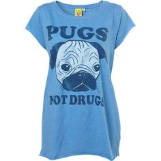 Blue Pug Print Tee By Sweet And Sour ($40) ❤ liked on Polyvore featuring tops, t-shirts, shirts, blusas, women, blue cotton shirt, blue cotton t shirts, blue t shirt, blue tee and pattern t shirt