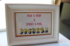 minion baby shower pick a prop and strike a pose