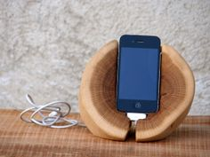 iPhone Docking Station. Wood iPhone Stand. Wooden by WoodRestart, €50.00