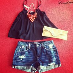 How to dress up denim shorts for summer nights, brought to you by Lipp Boutique & #Level99Jeans.