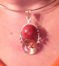 Sponge coral copper and Sterling pendant