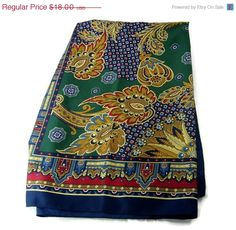 ON SALE Vintage Scarf Jewel tone Stylized by EclecticVintager, $14.40