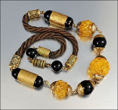 Czech Art Deco Necklace Glass Bead Twisted Chain Gold