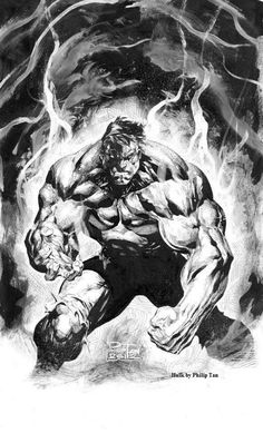 The Hulk - by Philip Tan__Incredibly impossible musculature. Perfect expression of anger. One of the best Hulk artworks. Comic Book Characters, Marvel Characters, Comic Character, Comic Books Art, Comic Art, Hulk Comic, Hulk Marvel, Marvel Dc Comics, Superman Comic