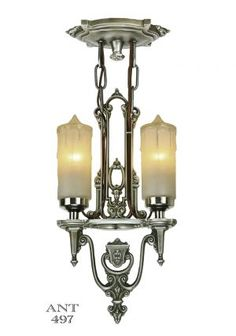 Art Deco Antique Candle Style Ceiling Pendant Light by Riddle (ANT-497) #vintage #reproduction #recreation #antique #art #deco #nouveau #doorknob #hardware #lighting #unique #switchplate #victorian #hinge #brass #cast #metal #eastlake #windsor #shade #crystal #glass #electrical #cover #gang #plate #pendant #arts #crafts #mission #period #decor #rail #railing #rococo #romantic #beaux #newel #post #knight #induction #grow #heat #lamp