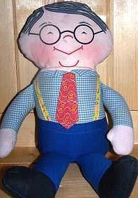 """1968 Grampa & Grandma, 20"""" tall, pull string with voice box talker doll, cloth doll with attached blue plaid shirt, red print tie, blue slacks, black cloth shoes, and printed facial features with black eye glasses.  Tagged; Quality Originals by Mattel Grandpa Copyright 1968 Joyce Miller Originals."""