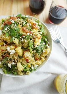 Bacon Quinoa Salad This recipe for  Bacon Quinoa Salad with Lemon Dijon Dressing is  a fresh, colorful salad that's great with grilled meats, or on its own as a meal. Today's recipe is one my husba…