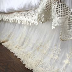 Luxury White Lace Love Bed Skirt. Shabby Chic Dust Ruffle. Lace Dust Ruffle.