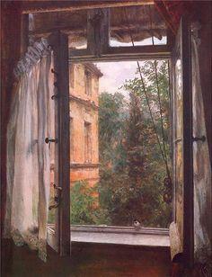 Adolf von Menzel (Polish/German, 1815-1905) - View from a window in the Marienstrasse (1867)