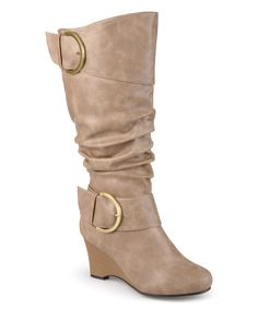 Womens Extra Wide Calf Slouch Buckle Knee High Boots