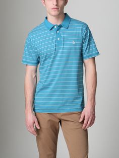 Original Penguin Feeder Stripe Polo Shirt (Mosaic Blue)