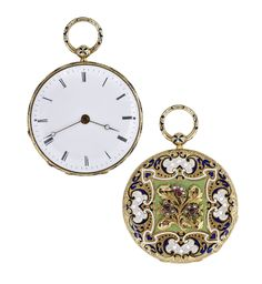 #Antique 18k Yellow Gold And Enamel Pocket Watch circa 1860.