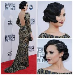 Pin Curls Short Prom Hairstyles: 24 Gorgeous Styles: Demi Lovato's Pin Curls - Short hair can be fun to dress up for prom. In this gallery, I share my favorite short hair ideas for prom. You'll see pixies, bobs and more. 30s Hairstyles, Short Hairstyles For Thick Hair, Wedge Hairstyles, Curled Hairstyles, Vintage Hairstyles, Short Hair Styles, Updo Hairstyle, Hairstyle Ideas, Wedding Hairstyles