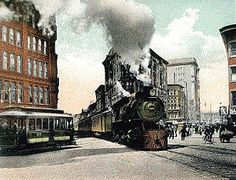 vintage everyday: Pictures of Trains on the Streets of Syracuse, New York from Syracuse New York, Upstate New York, Drive Across America, Hiking Club, Lake George Village, Winter Hiking, Train Rides, Old Pictures, The Great Outdoors