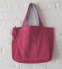 Handmade Reycled Hot Pink Corduroy Bag by MadeinW6 on Etsy