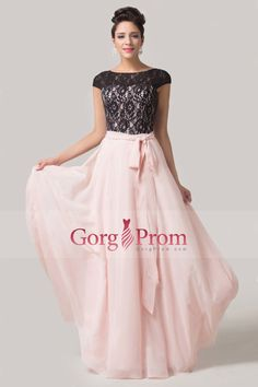 2015 Bateau Off The Shoulder A Line Floor Length Chiffon Prom Dress With Black Lace