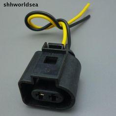 shhworldsea 2 pin auto Wiper Washer Fluid Pump Pigtail Wiring Plug Connector Car horn socket 1J0973722 For VW Jetta Golf GTI MK4 #Affiliate