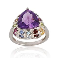 Designer Multi Gemstone Ring- Amethyst, Citrine, Peridot, Garnet Ring - Solitaire Ring-925 Sterling Silver Ring Jewelry- Birthstone Ring on Etsy, $189.00