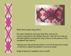 argyle beaded ring & pattern    brick stitch BY ANGIELINA GRASS, 2013©  DO NOT ALTER THIS IMAGE, THIS IS MY PROPERTY