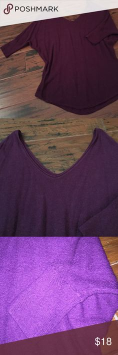 Double vneck sweater Very cute dark purple double v-neck sweater from express in great condition only worn a few times Express Sweaters V-Necks