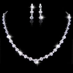 Diamond Cut AAA Zircon Bridal Necklace Earring Set, Wedding Dangle Earring, Bride Statement Necklace, Bridesmaid Jewlery-165214553