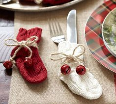 DIY this - winter decorations / table settings - Flatware Stocking, Set of 4 | Pottery Barn