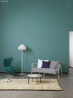 Turkosa väggar målade med Jotun LADY Pure Color som dessutom ger väggarna en ultramatt yta.