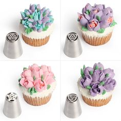 Whether it's a birthday, housewarming, anniversary, or special day these Cake Love piping nozzles will get your cake or cupcakes dressed to impress! A great gift for the cake bakers and decorators in your life. Cake Decorating Piping, Cookie Decorating, Russian Icing Tips, Icing Nozzles, Frosting Tips, Cake Icing, Cake Decorating Techniques, Baking Supplies, Macaron