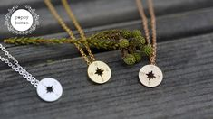 Your place to buy and sell all things handmade Compass Necklace, Star Necklace, Silver Bars, Initial Charm, Personalized Jewelry, Color Patterns, Rose Gold, Celestial, Shop