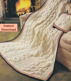 Aran Quick Cable Knit Afghan Knitting Pattern - Instant Download PDF - Bulky Fisherman Knit