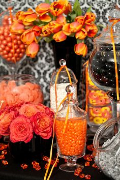 Orange and Black Candy Buffet